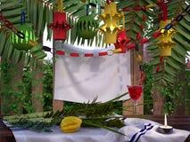Dekorationen innerhalb eines Sukkah während des jüdischen Feiertags Stockbilder