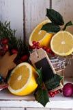 Dekorationen, Plätzchen und Orangen für Weihnachten lizenzfreies stockfoto