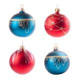 Dekorationsball des Weihnachten vier lokalisiert auf Weiß Stockbild