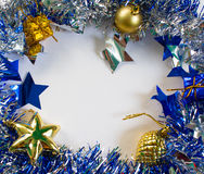 Dekorationsebenenlage des neuen Jahres Glänzendes und funkelndes Band mit leerem Platz Lizenzfreies Stockfoto