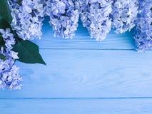 Dekorationsfrühjahrgrußjahrestags-Muttertagesgeschenkfeiertag der schönen neuen Blüte lila auf einer hölzernen Hintergrundgrenze Lizenzfreies Stockfoto