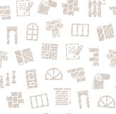 Dekorationsmaterialien, Bau, nahtloses Muster, ausbrütender Bleistift, Weiß, Vektor Stockbilder