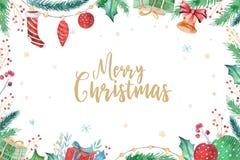 Dekorationswintersatz 2019 der frohen Weihnachten und des guten Rutsch ins Neue Jahr Aquarellfeiertagshintergrund Weihnachtseleme