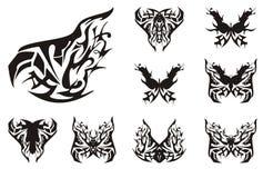 Dekorativ abstrakt stam- fjärilsuppsättning Royaltyfria Bilder