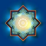 Dekorativ arabisk guld- beståndsdelmodell för vektor Bokeh tänder festlig bakgrund Hälsningkort, inbjudan för muslims vektor illustrationer