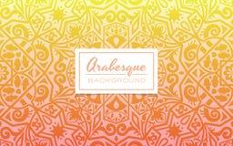 Dekorativ bakgrund för Arabesque på varm färg för lutning Royaltyfri Foto