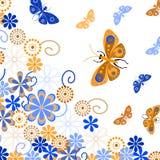 Dekorativ bakgrund med fjärilar och blommor Arkivfoto