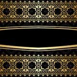 Dekorativ bakgrund med guld- garneringar - svart vektor illustrationer