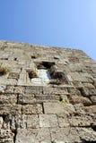 Dekorativ basrelief på väggen av den medeltida fästningen Fotografering för Bildbyråer