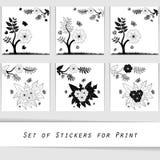 Dekorativ beståndsdel för blommakontur Arkivbilder