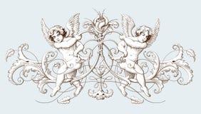 Dekorativ beståndsdelgravyr för tappning med den barocka prydnadmodellen och kupidon royaltyfri illustrationer