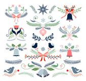 Dekorativ beståndsdelsamling för jul som isoleras på vit arkivbilder