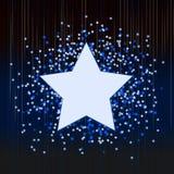 Dekorativ blå bakgrund med konfettier från stjärnor Royaltyfri Foto