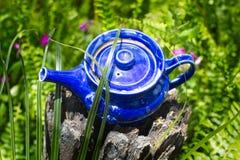 Dekorativ blå tekanna som används som den trädgårds- prydnaden på trädstubbe Royaltyfri Foto