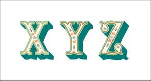 Dekorativ blom- bokstav X Y Z för Folk alfabet stock illustrationer