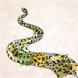 Dekorativ blom- grön orm royaltyfri illustrationer