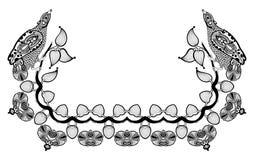 Dekorativ blom- och fågelramdesign Royaltyfri Foto