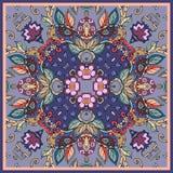 dekorativ blom- prydnad Bandanatryck, sjalettdesign, borddukar och servetter stock illustrationer