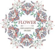Dekorativ blom- ram i tappningstil Rund prydnad stock illustrationer