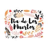 Dekorativ blom- ram med inskriftdiameter de los muertos, mexikansk feriedag av dödaen vektor illustrationer