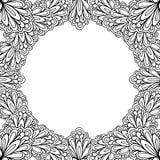 Dekorativ blom- ram med utrymme för text, mall för hälsningkort eller sida för färgläggningbok, cirkel i fyrkant royaltyfri illustrationer