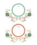 dekorativ blom- tappning för vektor för ramillustrationmodell Arkivbilder
