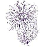 Dekorativ blomma för fantasi med ögonfärgläggningsidan Royaltyfria Bilder