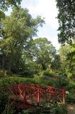 Dekorativ bro i Abbotsbury trädgårdar Arkivfoton
