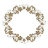 Dekorativ brun ram med blommor Royaltyfria Foton