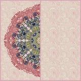 Dekorativ cirkelmall med blom- bakgrund Arkivbilder
