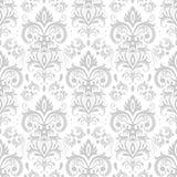 Dekorativ damast modell Tappningprydnad, barocka blommor och vektor för blom- prydnader för silver venetian utsmyckad sömlös royaltyfri illustrationer