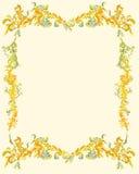 Dekorativ-dekorativ-blom--sida-klassisk-dekor Arkivfoto