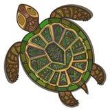 Dekorativ dekorativ sköldpadda med tecknet, färgrik etnisk modell stock illustrationer