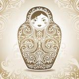Dekorativ docka på mönstrad bakgrund stock illustrationer