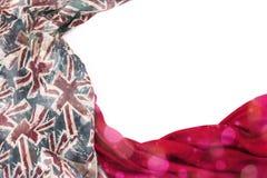 Dekorativ drapera ram av textilen Diagram för halsduk för kvinna` s rött den brittiska flaggan Royaltyfria Bilder