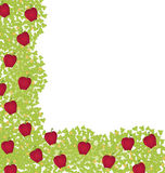 Dekorativ-Ecke-Element-mit-rot-Äpfel Stockfotografie
