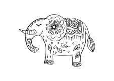 Dekorativ elefantillustration Indiskt tema med prydnader royaltyfri illustrationer