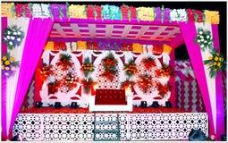 Dekorativ etapp i indiskt bröllop royaltyfria foton