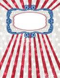 dekorativ etikett en USA för bakgrund stock illustrationer