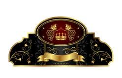 dekorativ etikett för ramguldvinranka vektor illustrationer