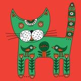 Dekorativ etnisk gullig grön katt Arkivbild