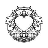 Dekorativ etnisk konst för vektor illustratören för illustrationen för handen för borstekol gör teckningen tecknade som look past vektor illustrationer