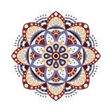 Dekorativ etnisk mandala Översiktsisolatprydnad Vektordesign med islam, indier, arabiska motiv royaltyfri illustrationer