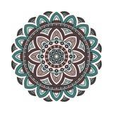 Dekorativ etnisk mandala Översiktsisolatprydnad Vektordesign med islam, indier, arabiska motiv stock illustrationer