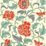 Dekorativ färgad antik blom- modell vektor illustrationer