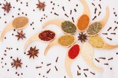 Dekorativ färgrik blommaprydnad av mångfärgade asiatkryddor och anisstjärnan, kryddnejlika på vit träbakgrund Royaltyfri Fotografi
