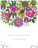 Dekorativ färgrik tecknad filmblommaillustration Arkivbild