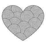 Dekorativ förälskelsehjärta med prydnaden av cirklar Sida för färgläggningboken, hälsningkort Modell för valentindag Fotografering för Bildbyråer