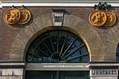 Dekorativ fasad av den tidigare Henkes fabriken Arkivbilder
