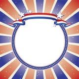 dekorativ fodrad patriotisk stjärna för banercirkel Royaltyfria Bilder